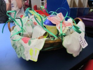 basket of paper strawberry boxes