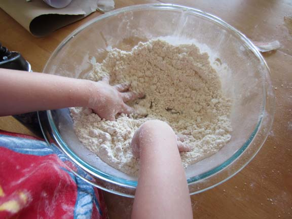 mixing cloud dough
