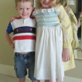 smocked pinafore dress
