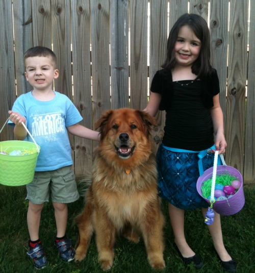 kids and dog with easter baskets