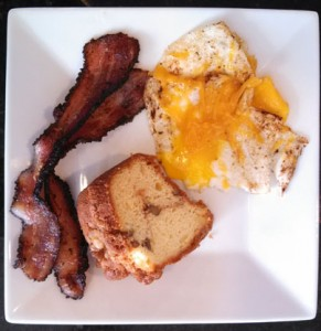 Breakfast - Peppered Bacon, Coffee Cake, and an egg