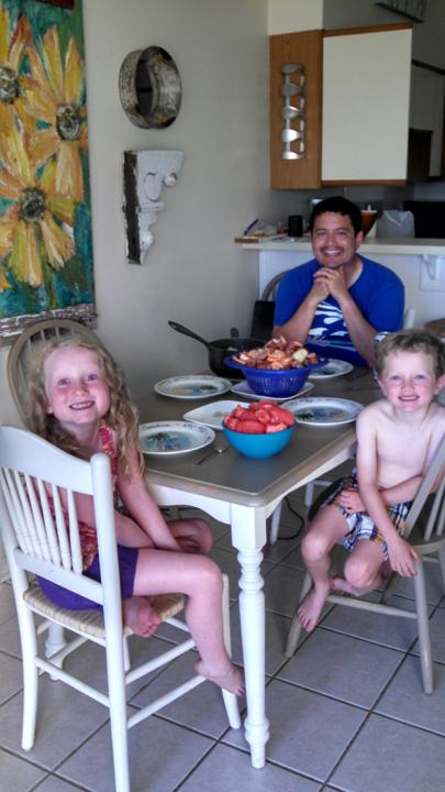 Shrimp boil dinner at the beach rental condo
