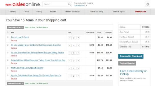 hyvee online cart